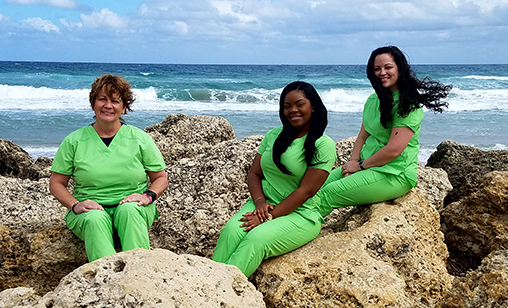 Pediatric dentist Dr. Bazo's clinical staff members - Allie, Jeany and Linda
