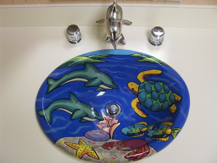 Sink artwork at office of pediatric dentist Dr. John Bazos in Coral Springs, FL