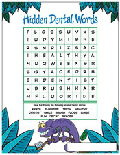 Hidden Dental Words activity sheet